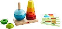 Цветове и форми - Дървена играчка за нанизване и сортиране -