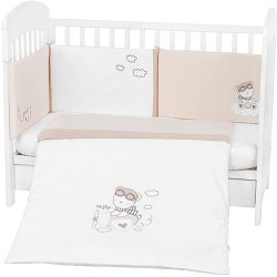 Бебешки спален комплект от 3 части с обиколник - Dreamy Flight EU style - 100% ранфорс за легла с размери 60 x 120 cm -