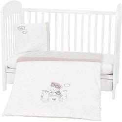 Бебешки спален комплект от 3 части - Dreamy Flight - 100% ранфорс за матраци с размери 60 x 120 cm и 70 x 140 cm -