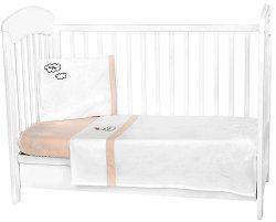 Бебешки спален комплект от 3 части - Dreamy Flight EU Stile - 100% ранфорс за матраци с размери 60 x 120 cm или 70 x 140 cm -