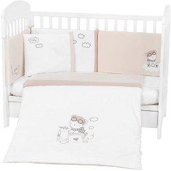 Бебешки спален комплект от 6 части - Dreamy Flight - 100% ранфорс за легла с размери 60 x 120 cm или 70 x 140 cm -