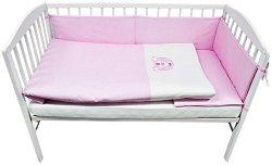 Бебешки спален комплект от 3 части - 100% памук за легло с размери 60 x 120 cm -