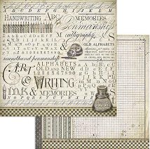 Хартия за скрапбукинг - Ръкописен почерк - Размери 30.5 x 30.5 cm