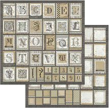 Хартия за скрапбукинг - Шрифтове - Размери 30.5 x 30.5 cm