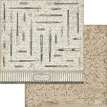 Хартия за скрапбукинг - Автентични писалки - Размери 30.5 x 30.5 cm