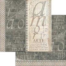 Хартия за скрапбукинг - Терхнически шрифт - Размери 30.5 x 30.5 cm