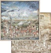 Хартия за скрапбукинг - Къщи - Размери 30.5 x 30.5 cm