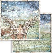 Хартия за скрапбукинг - Ангел и небе - Размери 30.5 x 30.5 cm