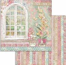 Хартия за скрапбукинг - Прозорец и цветя - Размери 30.5 x 30.5 cm