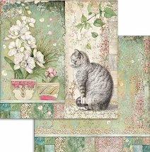 Хартия за скрапбукинг - Котка и цветя