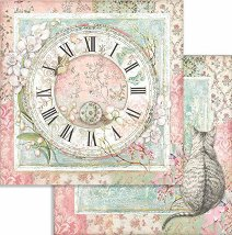 Хартия за скрапбукинг - Часовник - Размери 30.5 x 30.5 cm