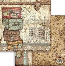 Хартия за скрапбукинг - Ретро куфари