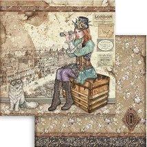 Хартия за скрапбукинг - Пътешественик - Размери 30.5 x 30.5 cm