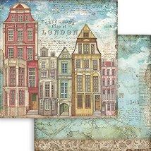 Хартия за скрапбукинг - Лондонски къщи