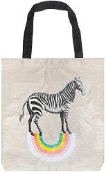 Текстилна чанта за книги - Зебра -