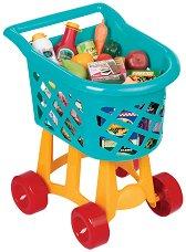 Пазарска количка с хранителни продукти - Детски комплект за игра - играчка