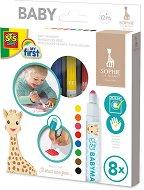Флумастери за бебета - Жирафчето Софи - Комплект от 8 цвята