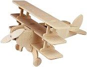 Самолет триплощник с въртяща се перка - Дървен 3D пъзел със соларен панел -