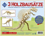 Скелети на динозаври - Комплект от 3 дървени 3D пъзела -