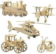 Превозни средства - Комплект от 5 дървени 3D пъзела -