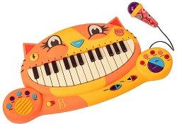 Електронен синтезатор и микрофон - Коте - играчка