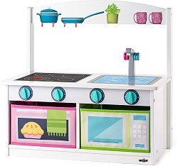 Дървена кухня - Пейка 2 в 1 - Детска играчка -