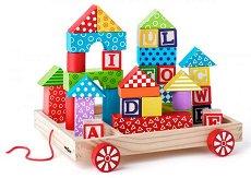 Дървена количка с кубчета -