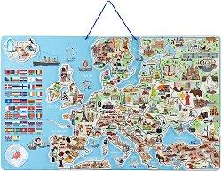 Магнитна карта - Европа 3 в 1 - Детски образователен комплект -