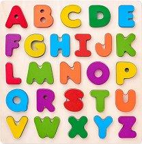Английската азбука - Дървен образователен комплект за сортиране -