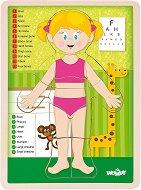 Човешко тяло - Момиче - Дървен образователен пъзел -