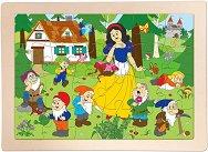 Снежанка и седемте джуджета - Детски дървен пъзел в рамка - пъзел