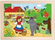 Червената шапчица - Детски дървен пъзел в рамка - пъзел