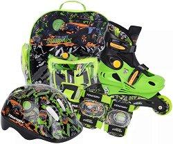 Детски регулируеми ролери - Baby Racer - Комплект с протектори, каска и чанта за съхранение -