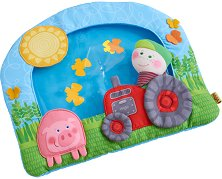 Възглавничка за игра по корем - Ферма - Комплект с дрънкалка -