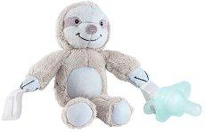 """Плюшен държач за залъгалка - Ленивец - Комплект със силиконова залъгалка за бебета от 0+ месеца от серията """"Lovey"""" - играчка"""