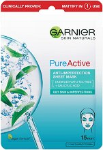 Garnier Pure Active Sheet Mask - Хартиена маска за лице за мазна и проблемна кожа - маска