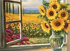 Рисуване по номера с акрилни бои - Слънчогледови поля