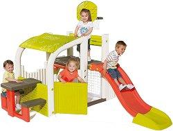 Детски център - Къща с пързалка и баскетболен кош - детски аксесоар