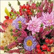 Салфетки за декупаж - Есенни цветя - Пакет от 20 броя