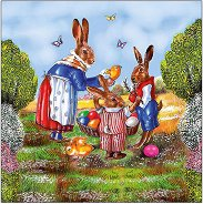 Салфетки за декупаж - Семейство зайци - Пакет от 20 броя