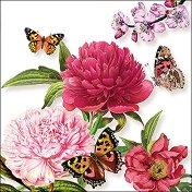 Салфетки за декупаж - Божури с пеперуди - Пакет от 20 броя
