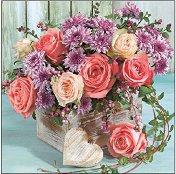Салфетки за декупаж - Букет от рози и хризантеми - Пакет от 20 броя