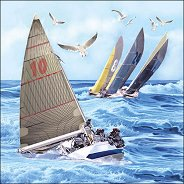 Салфетки за декупаж - Състезание с лодки - Пакет от 20 броя