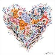 Салфетки за декупаж - Пролетно сърце - Пакет от 20 броя