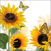Салфетки за декупаж - Слънчогледови пеперуди - Пакет от 20 броя