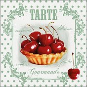 Салфетки за декупаж - Тарт с череши - Пакет от 20 броя