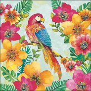 Салфетки за декупаж - Тропически папагал - Пакет от 20 броя