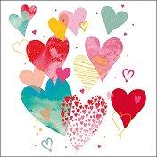 Салфетки за декупаж - Шарени сърца - Пакет от 20 броя