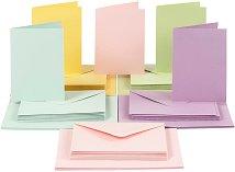 Картончета за картички c пликове в пастелни цветове