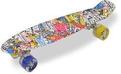 Пениборд - Hipster LED - Детски скейтборд с LED светлини и размери 57 x 15 cm -